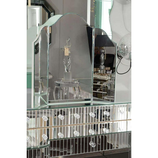 2000 - 2009 Custom Mirrored Vanity with Tryptic Mirror and Baguette Detailing For Sale - Image 5 of 8