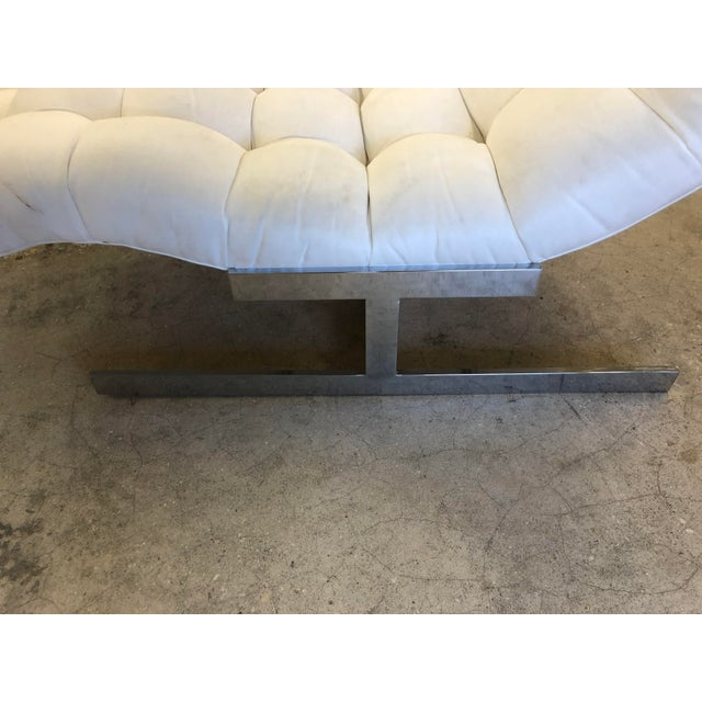 Beautiful Milo Baughman Wave Chaise. Done in a chic silver ultra suede. Flat bar base.