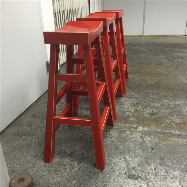Red Solid Wood Stools - Set of 3 - Image 5 of 10