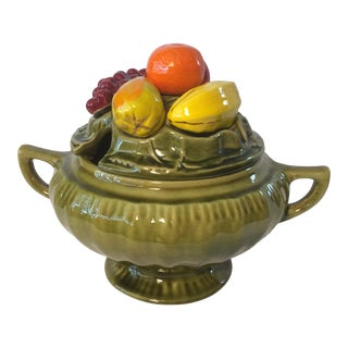 Retro Early 60s Majolica California Pottery Olive Green Della Robbia Soup Tureen Fruit Trompe L'Oeil For Sale