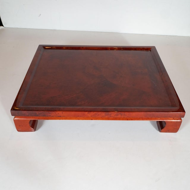 Brick Red Enrique Garcel Mid-Century Modern Lacquered Goatskin Pagoda Style Bar Tray For Sale - Image 8 of 10