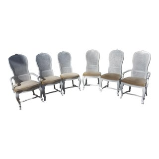 1970s Vintage White Caned Drexel Heritage Dining Chairs - Set of 6 For Sale