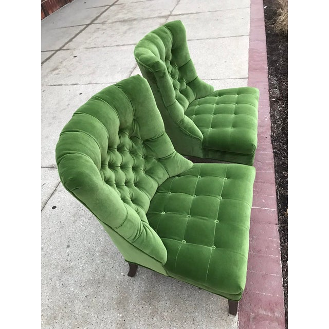 Designers Guild Velvet 1950s Vintage Tufted Armless Slipper Chairs- a Pair For Sale - Image 4 of 6