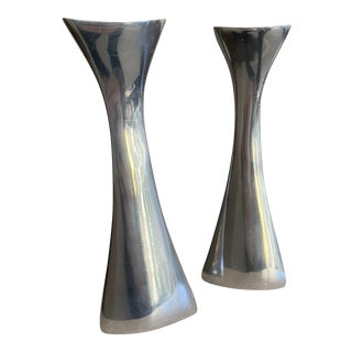 Vintage Nambe Candlesticks - Set of 2 For Sale