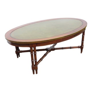Hollywood Regency Mid Century Oval Leather Top Coffee Table For Sale