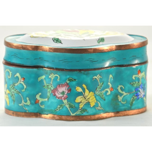 Asian Chinese Aqua Floral Enamel Copper Box For Sale - Image 3 of 4