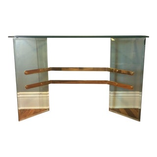 Vintage Beveled Glass and Brass Console Table