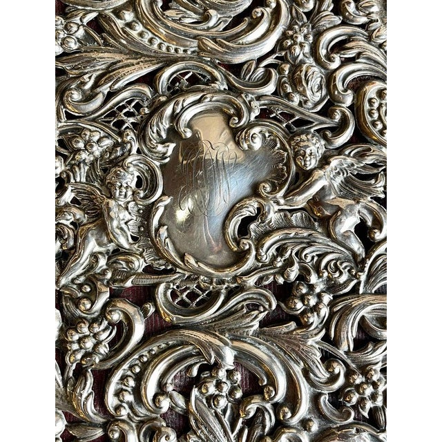 Ornate Sterling Silver Book Cover Photo Scrap Album W Red Leather Interior For Sale In New York - Image 6 of 13