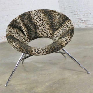 Animal Print and Chrome Round Hoop Bucket Tub Chair Made in Italy Preview