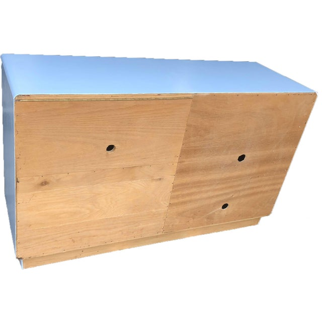 1960s Campaign Style Mid-Century Modern Credenza in Blue For Sale In Chicago - Image 6 of 9