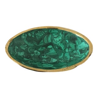 Brass Trimmed Malachite Bowl For Sale
