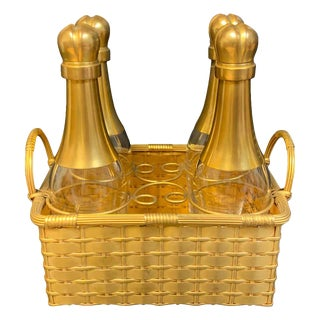 19th Century Ormolu Basketweave Tauntless, Attributed to Baccarat - 5 Pieces For Sale