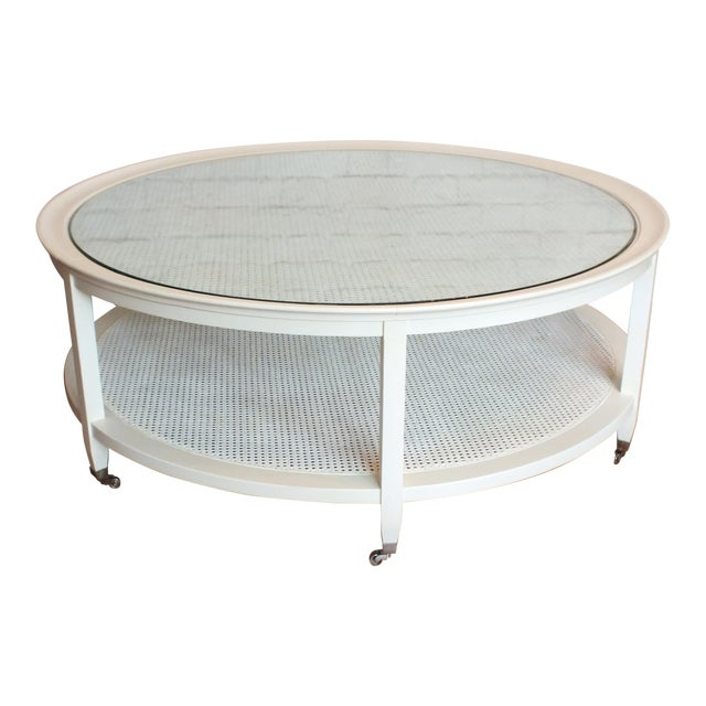 Mid-Century Round White Caned Coffee Table - Image 1 of 11