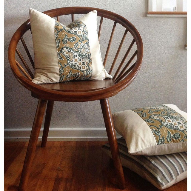 Boho Chic Yngve Ekstrom Design Teak Circle Chair With Cushions For Sale - Image 3 of 5
