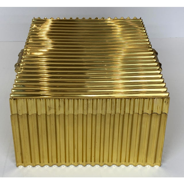Global Views Global Views Brass Corrugated Bamboo Box For Sale - Image 4 of 5