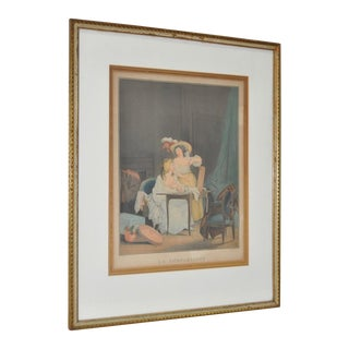 "Rare 18th Century French Erotica Color Engraving ""La Comparaison"" C.1786 For Sale"