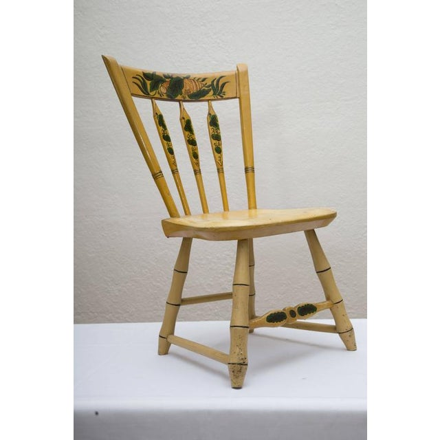 Traditional 19th Century Carved and Stenciled Childs Chair For Sale - Image 3 of 9