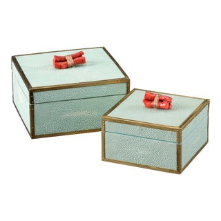 Seamist Coral Boxes - A Pair For Sale