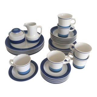 Vintage Mid Century Modern Noritake Craftone Surf Blue Ceramic Dinnerware - 33 Piece Set For Sale