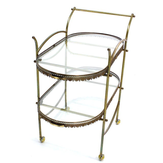 Two-Tier Brass Serving Cart Table with Removable Trays For Sale - Image 10 of 10