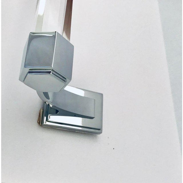 Silver Vintage Faceted Glass and Nickel Towel Holder For Sale - Image 8 of 13