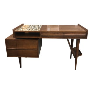 Mid Century Modern Walnut Mosaic Floating Desk For Sale