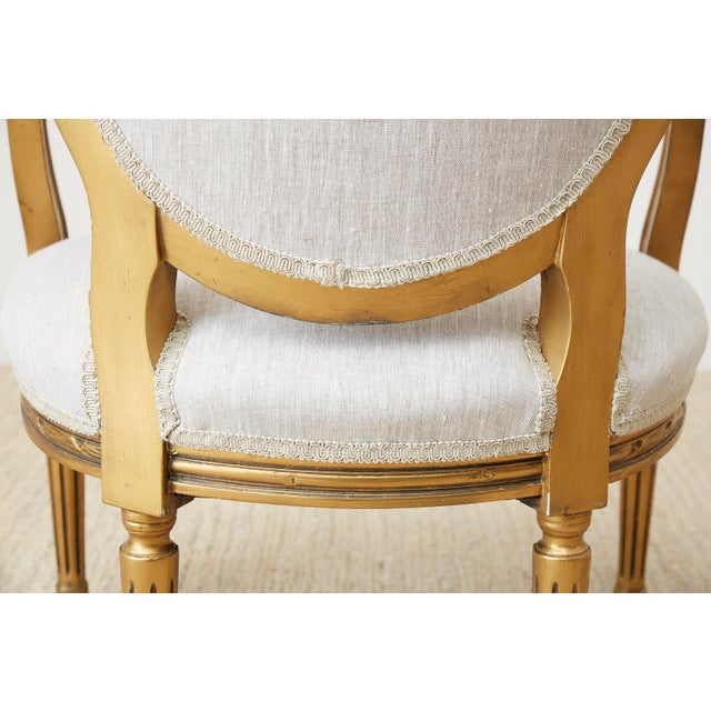 Pair of Louis XVI Style Giltwood Linen Fauteuil Armchairs For Sale - Image 11 of 13