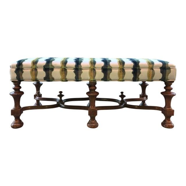 1940s Vintage Jacobean Bench Laura Kirar Highland Court Balustrade Velvet Upholstered For Sale