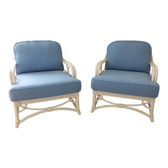 Ficks Reed Blue Armchairs - A Pair For Sale