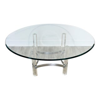 Mid Century Modern Round Glass Lucite Chrome Coffee Table 1970s Hollis Jones Era For Sale
