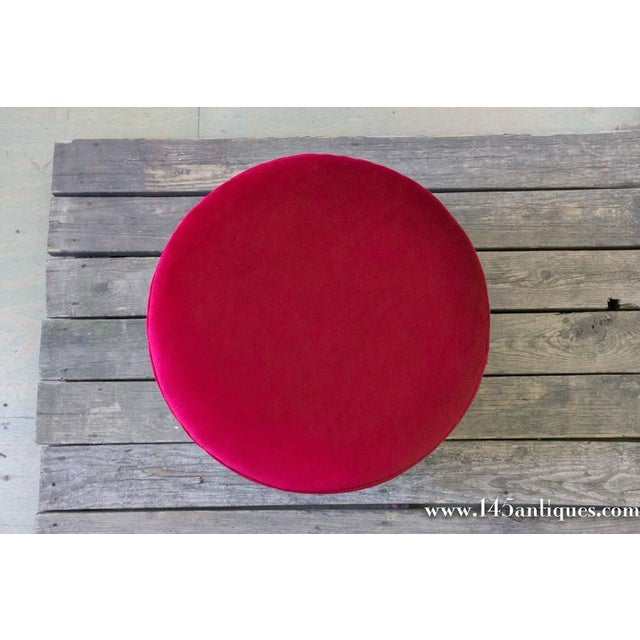 Italian Ottoman in Red Chenille - Image 3 of 6