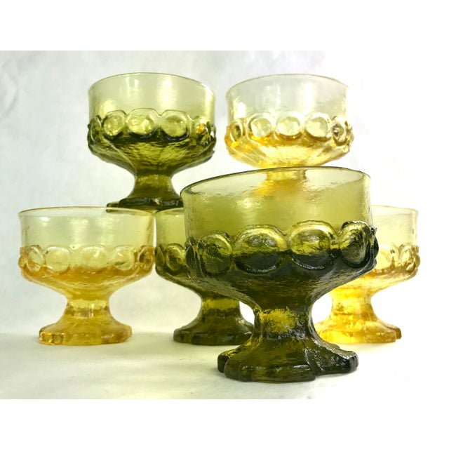 Mid-Century Tiffin Franciscan Madeira Olive Green and Cornsilk Yellow Sorbet Glasses- Set of Six For Sale In San Francisco - Image 6 of 6