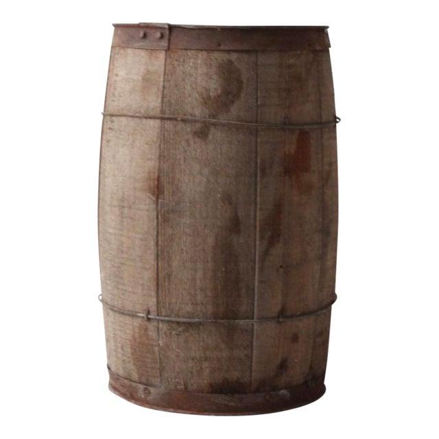 Antique Primitive Wooden Barrel For Sale