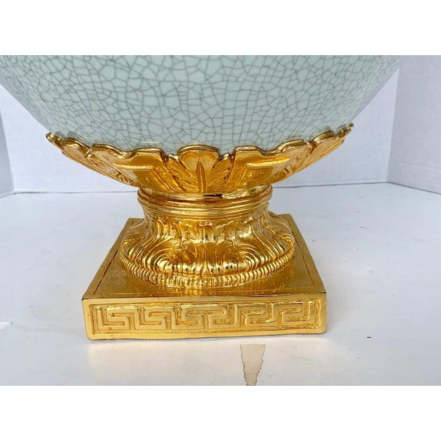 Mid 20th Century Chinese Crackle Glaze and Ormolu Lion Motif Urn For Sale - Image 5 of 9