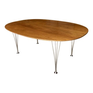 Fritz Hansen Super Elliptical Teak and Chrome Dining Table by Piet Hein Bruno Mathsson Danish Scandinavian Mid Century Modern For Sale