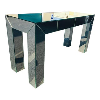 Mid Century Modern Parsons Style Mirrored Desk/Console Table For Sale