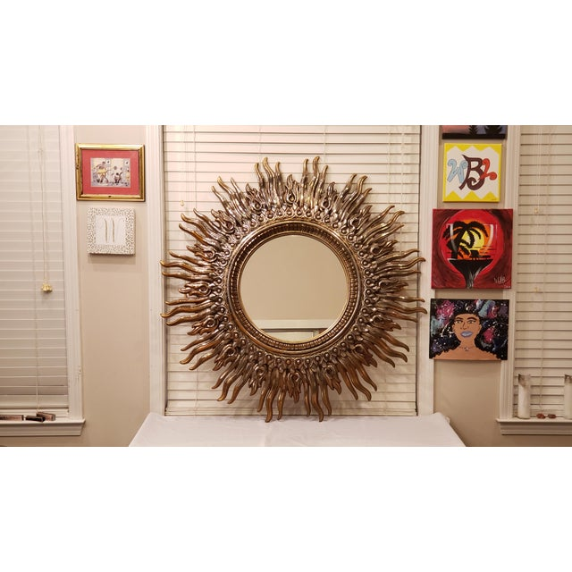 Hollywood Regency Large Decorative Sunburst Mirror With Cast Plastic Frame For Sale - Image 4 of 6