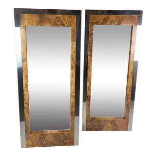 1980s Vintage Rectangular Faux Burl and Chrome Wall Mirrors - a Pair For Sale