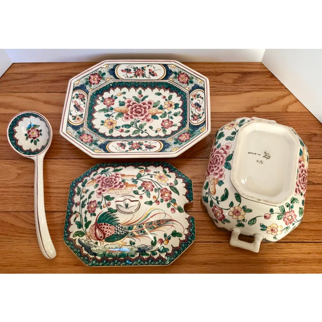 Late 20th Century Hand Painted Ceramic Lidded Tureen With Under Plate & Ladle For Sale - Image 5 of 12