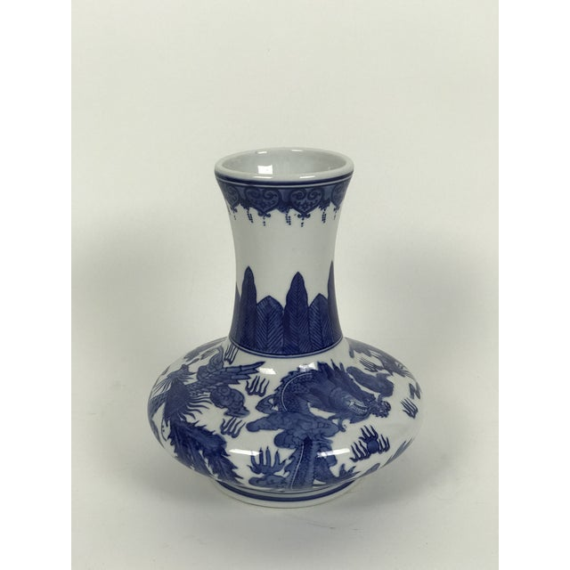 Asian Vintage 1950s Chinoiserie Blue and White Vase For Sale - Image 3 of 6