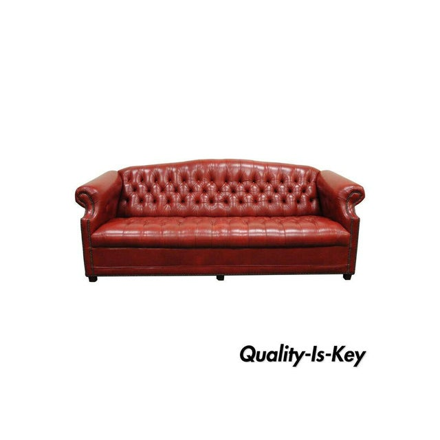 Vintage Red Leather English Chesterfield Style Button Tufted Sofa by Jasper For Sale - Image 11 of 11