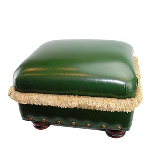 Hancock & Moore Pasargad N Y Green Leather H&M Ottoman For Sale