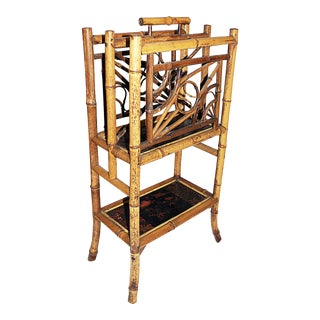 French Burnt-Bamboo Magazine Rack Canterbury