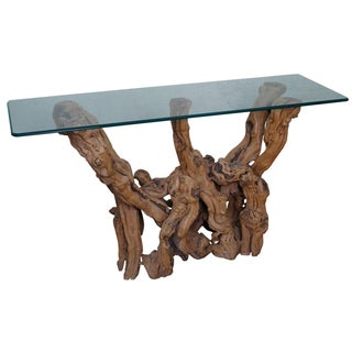 Grapevine Base & Glass Top Console For Sale
