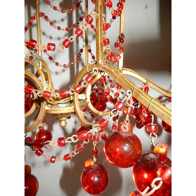 Red French Red Murano Ball and Chains Chandelier, circa 1940 For Sale - Image 8 of 11