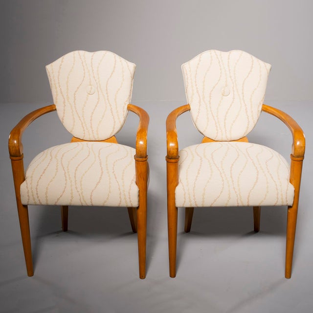 Pair French Bridge Chairs With Beech Frames and New Upholstery For Sale - Image 10 of 10