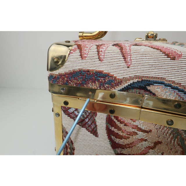 1980's Lisette New York Seashell Tapestry Train Case Handbag For Sale - Image 11 of 12