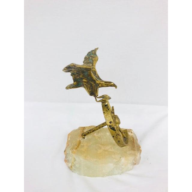 1960s Brass Eagle on Wheel Quartz Statuette For Sale - Image 5 of 12
