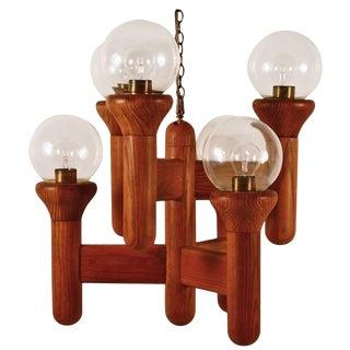Mod Oak and Glass Six-Light Chandelier For Sale