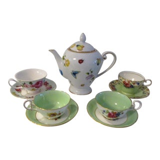 Vintage Botanical Garden Tea Set, 9 Pcs For Sale